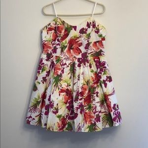 Floral Strapless Dress with Tulle